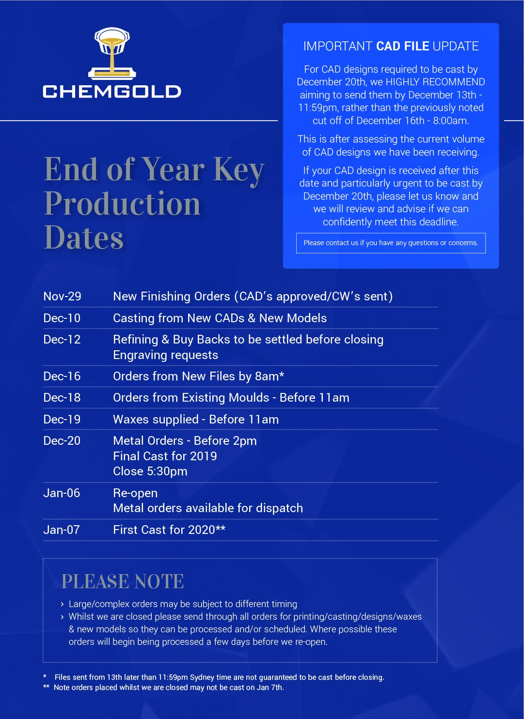 End of Year Key Production Dates **CAD FILE RECOMMENDATION**