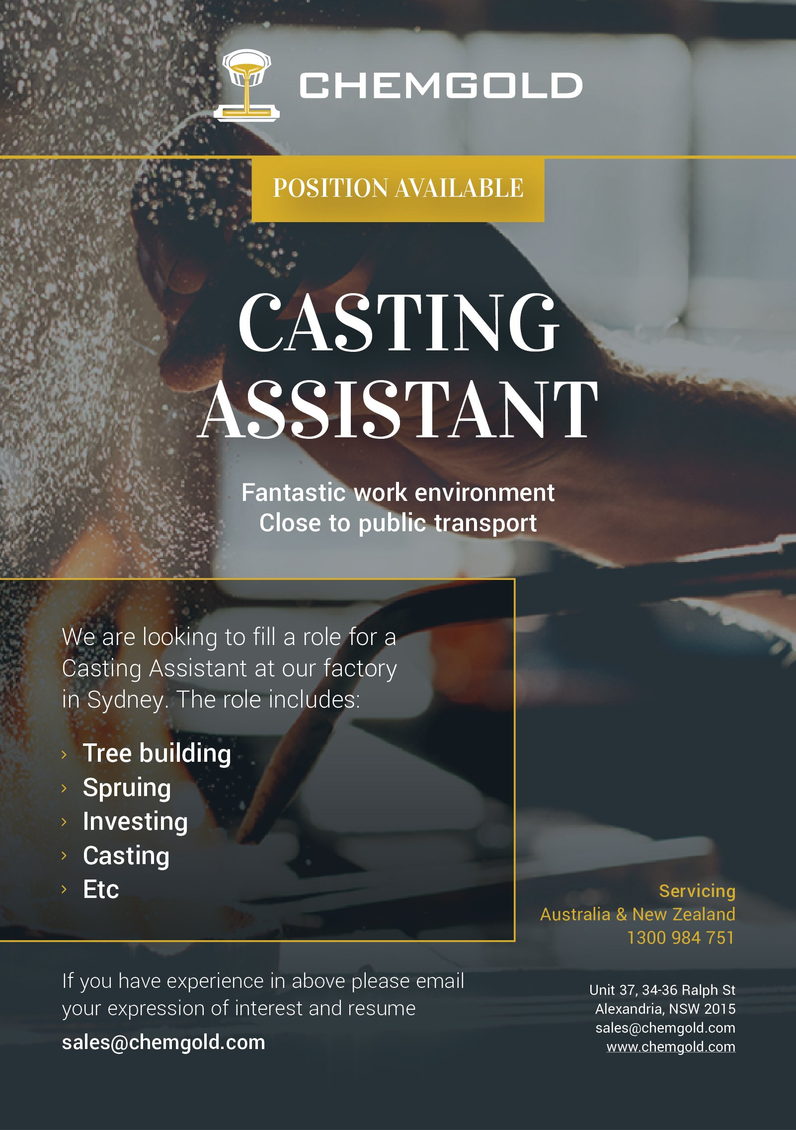 Chemgold Position Available - Casting Assistant