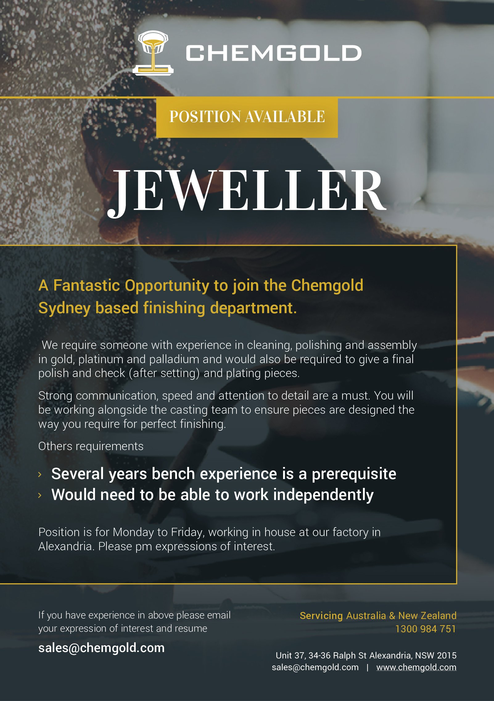 Chemgold Position Available - Jeweller