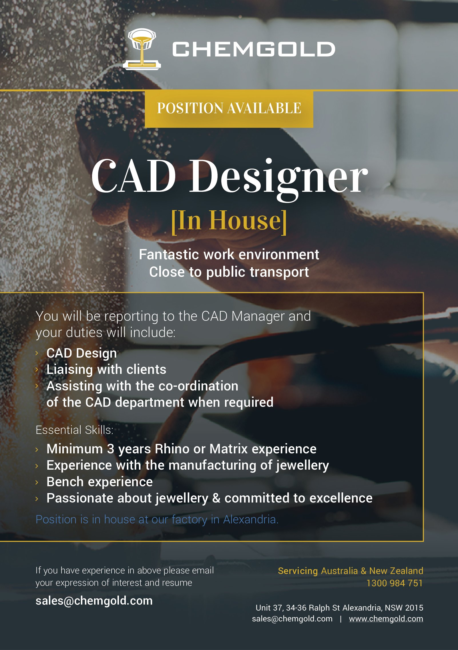 Chemgold Position Available - CAD Designer