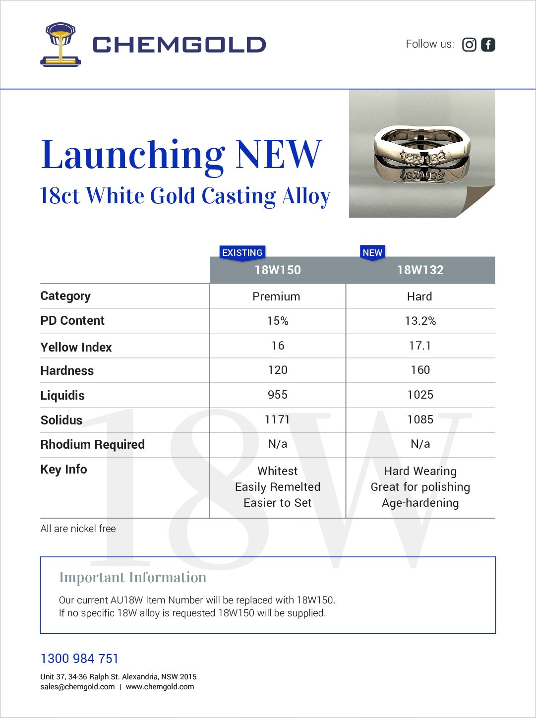 -	Launching New 18ct white gold [18W132] with less PD