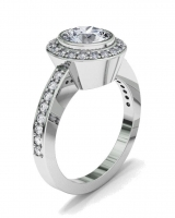 Bezel And Pave Dress Ring | Pave Set Shoulders - Click for more info