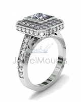 Pave Set Shank | Princess Rubover And Pave Setting - Click for more info
