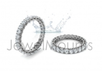 Double Bezel, Shared Claw Round Wedding Band - Click for more info