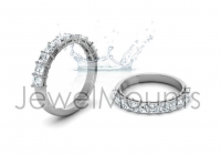 Double Bezel Shared Claw Princess Wedding Band - Click for more info