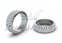 Flat Three Row Pave Set Round Wedding Band - Click for more info