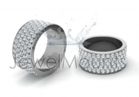 Flat Five Row Pave Set Round Wedding Band - Click for more info