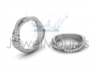 Pave Set Crossover Wedding Band - Click for more info