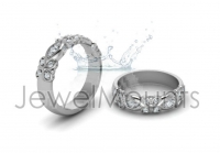 Floral Pave Set Wedding Band - Click for more info