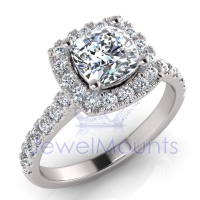 Cushion Halo Scalloped Set Ring - Click for more info