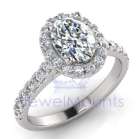 Oval Halo Scalloped Set Ring - Click for more info