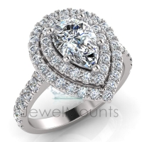 Pear Double Halo Scalloped Set Ring - Click for more info
