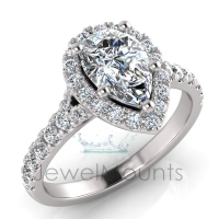 Pear Halo Scalloped Set Split Ring - Click for more info
