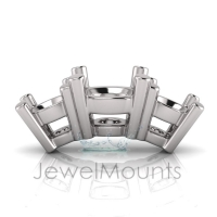 Four Claw Double Bezel Three Stone Setting - Click for more info