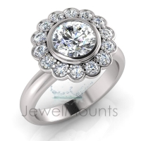 Bezel & Pave Set Flower Halo Dress Ring - Click for more info