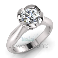 Half Round Shank | Heart Shaped Semi Rubover Setting - Click for more info