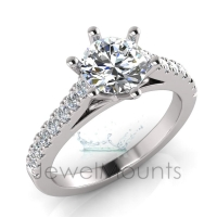 Flat Shank With Diamond Detail | Six Claw Setting - Click for more info