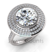 Round Bezel Set & Double Halo Pave Set Ring - Click for more info