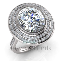 Oval Bezel Set & Double Halo Pave Set Ring - Click for more info