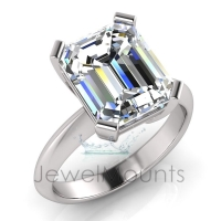 Four Square Claw Set Emerald Cut Ring - Click for more info