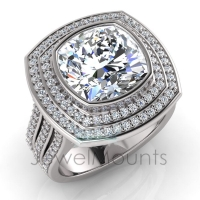 Cushion Bezel Set & Double Halo Pave Set Ring - Click for more info