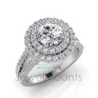 Round Double Halo Scalloped Set Ring - Click for more info
