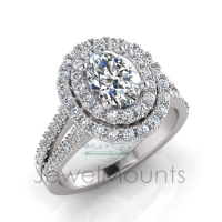 Oval Double Halo Scalloped Set Ring - Click for more info