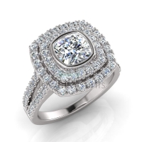 Cushion Double Halo Scalloped Set Ring - Click for more info