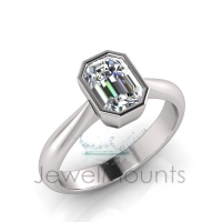Emerald Bezel Set Setting Half Round Shank - Click for more info