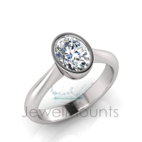 Oval Bezel Set Setting Half Round Shank - Click for more info