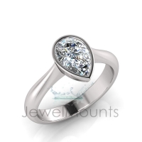 Pear Bezel Set Setting Half Round Shank - Click for more info