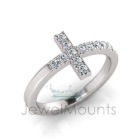 Scallop Set Cross Ring - Click for more info