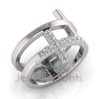 Scallop Set Double Cross Ring - Click for more info