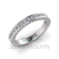 Channel and Pave Set Wedding Ring Matching Wedder For J0180 - Click for more info