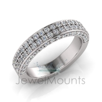 Double Row Micro Pave Set Wedding Ring Matching Wedder For J0183 - Click for more info