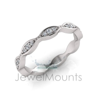 Claw Set Round Stone In Marquise Shape Eternity Ring - Click for more info