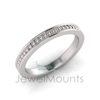 Beaded With Pave Border Eternity Ring - Click for more info