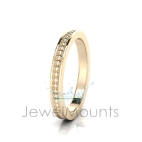 Beaded With Pave Border Eternity Ring