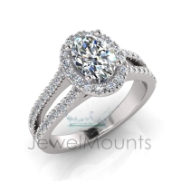 Oval Halo Scalloped SetHalf Round Diamond Set Split Shank - Click for more info