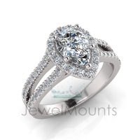 Pear Halo Scalloped SetHalf Round Diamond Set Split Shank - Click for more info