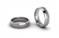Half Round Tripple Line Engraved Mens Ring - Click for more info