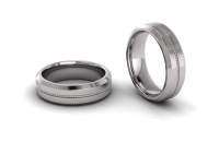 Flat Beveled Edge Reverse Granular Mens Ring - Click for more info