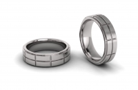 Flat Double Row Mens Brick Ring - Click for more info