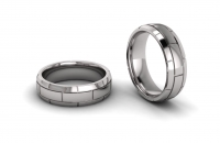 Half Round Tripple Row Mens Brick Ring - Click for more info