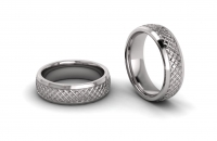 Half Round Lattice Engraved Mens Ring - Click for more info