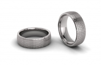 Half Round Square Grid Mens Ring - Click for more info