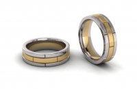 Flat Tripple Row Mens Brick Ring - Click for more info