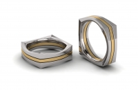 Flat Square Thee Section Mens Ring - Click for more info