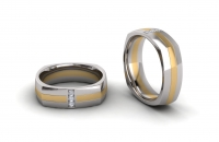 Half Round Square Shaped Three Stone Insert Mens Ring - Click for more info