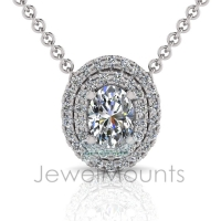 Double Scallop Set Oval Halo Pendant - Click for more info
